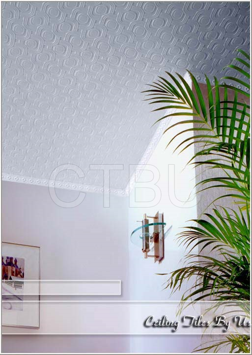 Why Remove that Ugly Popcorn Ceiling, Simply Glue these Styrofoam Ceiling Tiles to secure popcorn ceiling