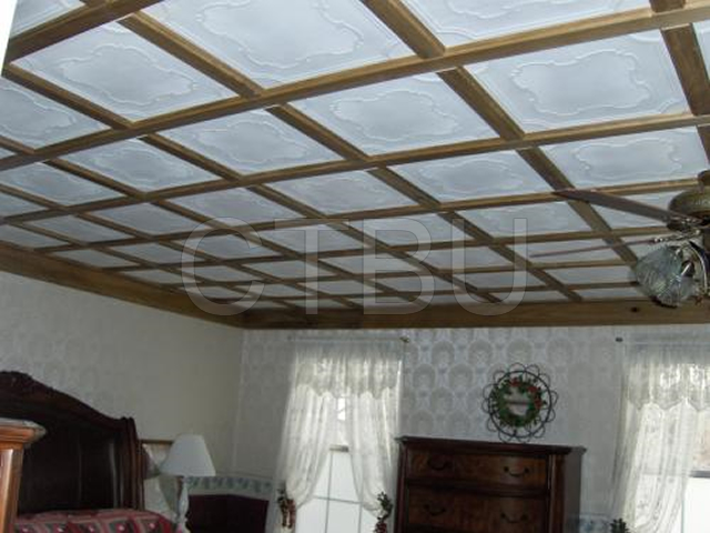 No messy popcorn ceiling removal, simply glue over existing popcorn ceiling