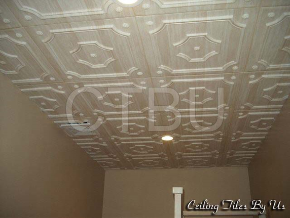 Our Styrofoam ceiling tiles are easily glued over any clean surface or existing porp corn ceiling.