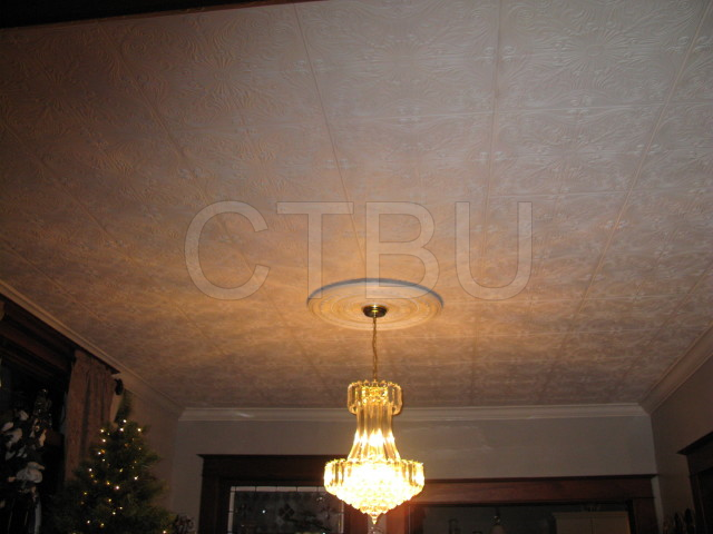 Don\'t bother removing your popcorn ceiling, use our decorative ceiling tiles.Goes on any smooth surface.