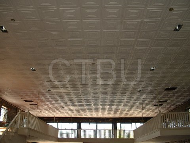 Personalize ceiling renovation with light Styrofoam ceiling tiles.