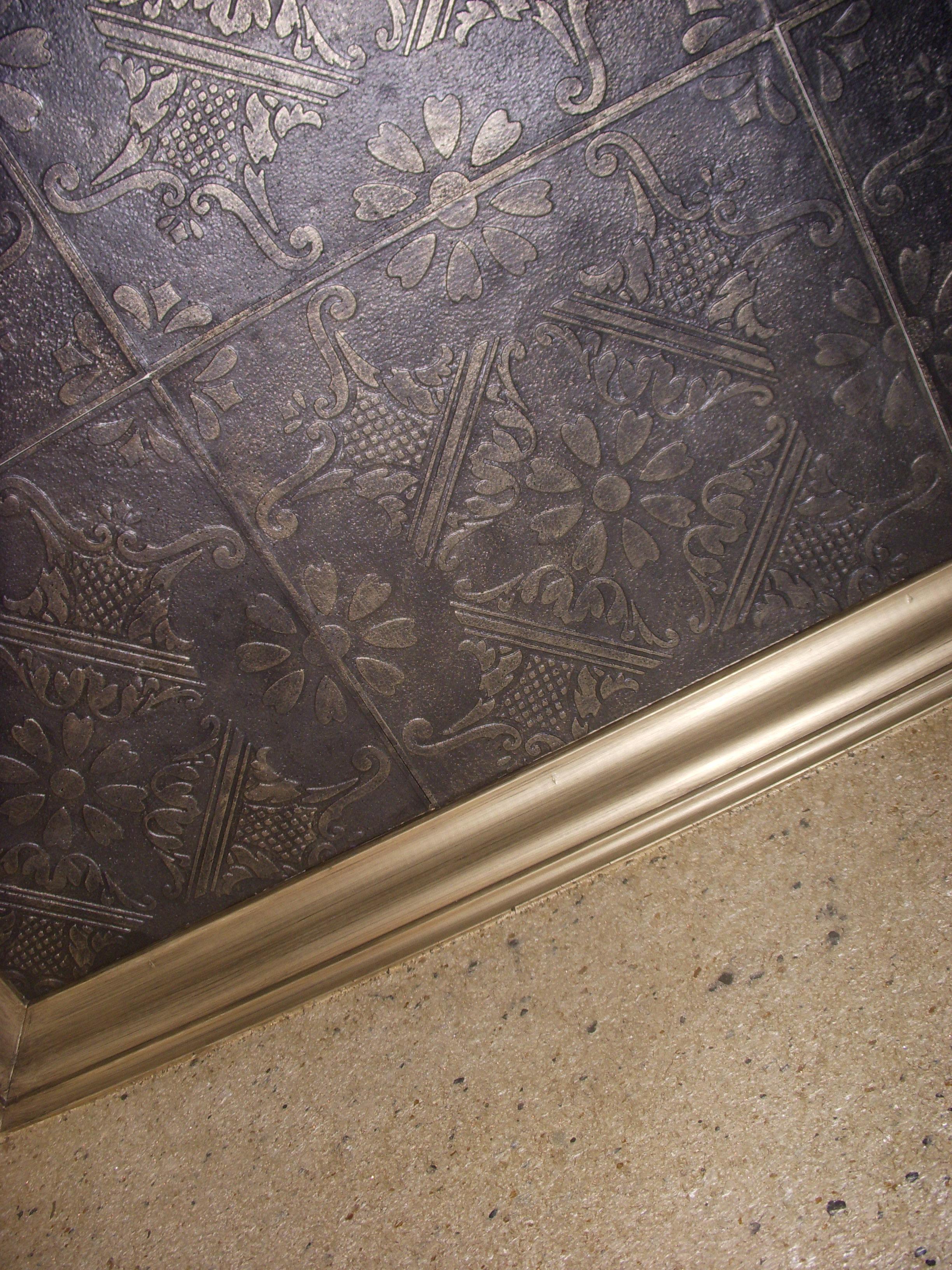 Glue Up Ceiling Tiles >> Styrofoam Ceiling Tiles Installed