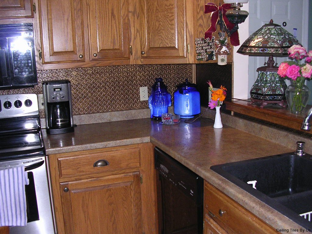 Backsplash Installed in Kitchen near Stove Design