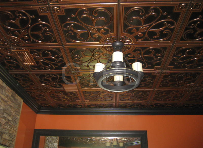 Glue Up PVC Antique Copper Ceiling Tiles with Overlapping Edges or  install in a Grid Suspended Drop In Ceiling Tile