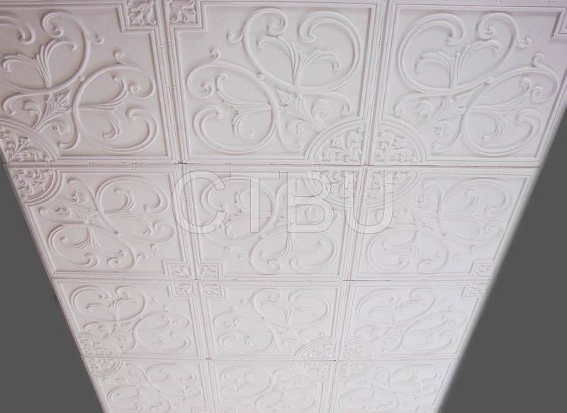 Pvc Ceiling Tiles : Plastic glue up drop in decorative ceiling tiles