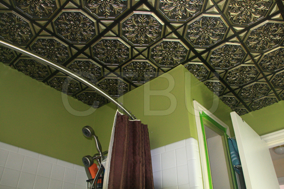 antique-copper-ceiling-tiles-installed-bathroom