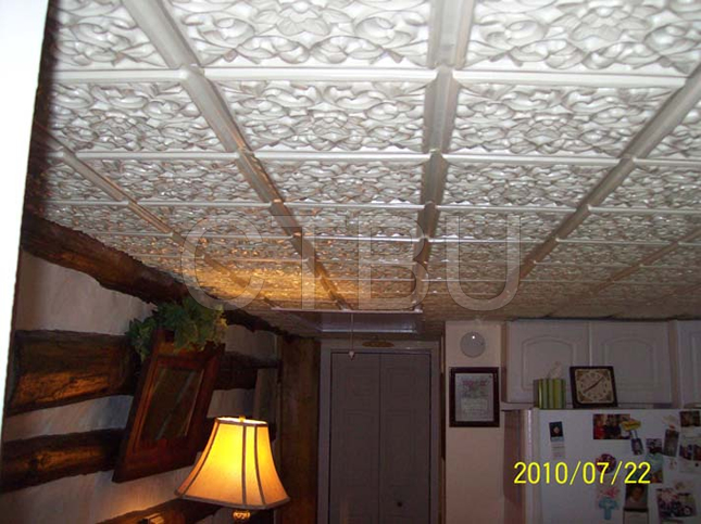 white-ceiling-tile-log-cabin-installed-2