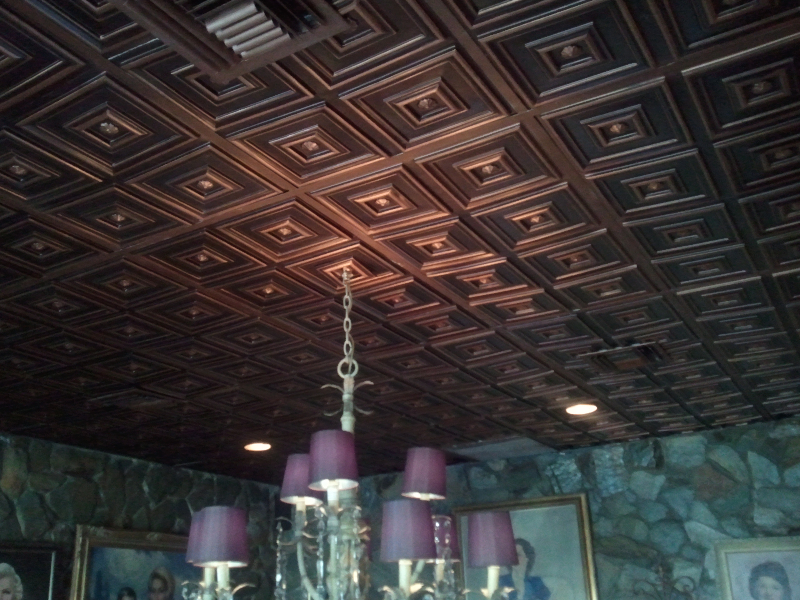 Design 112 Antique Copper Grid Suspended PVC Ceiling Tile