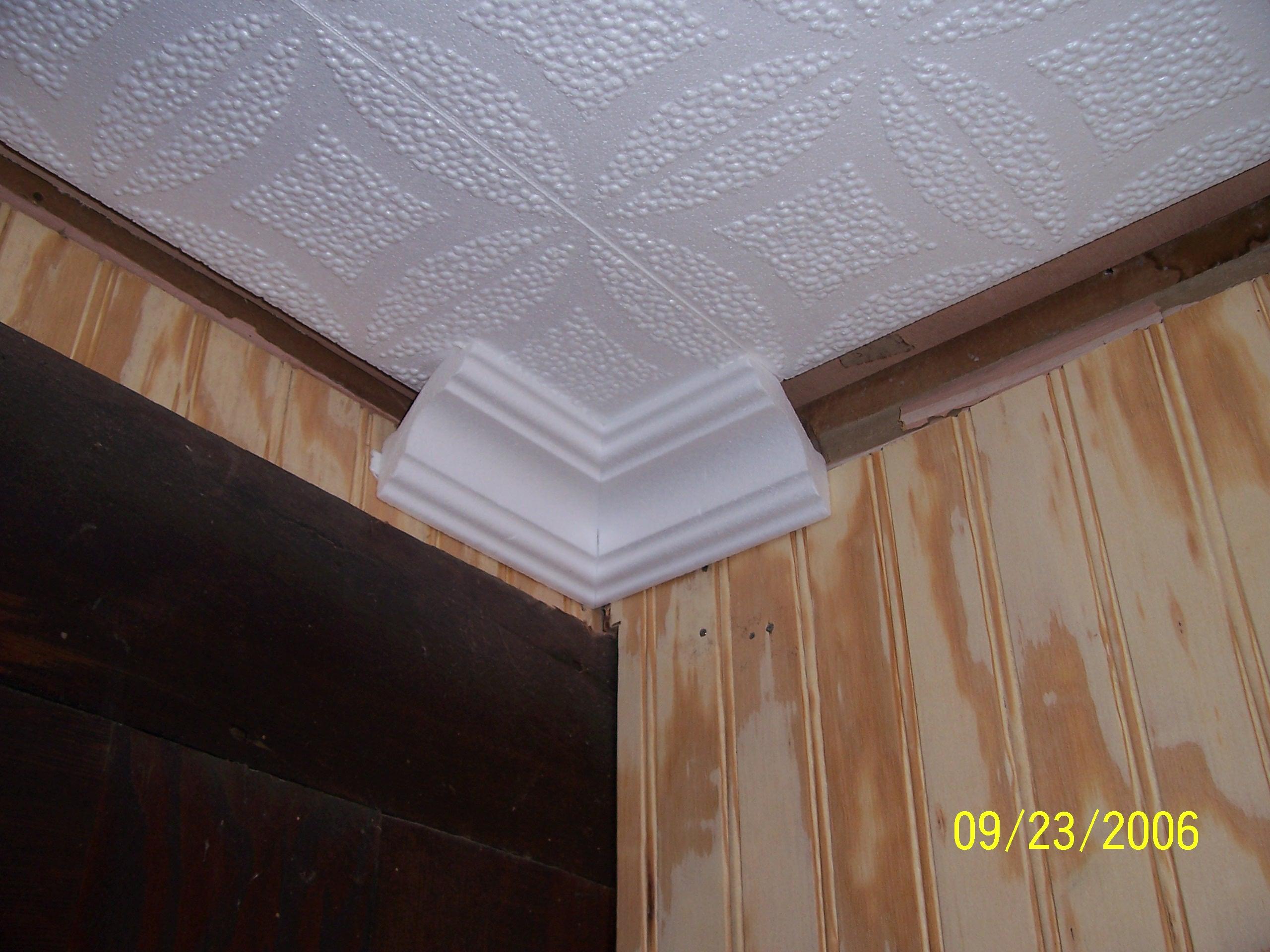 Styrofoam Molding Installed Ceiling Tiles By Us