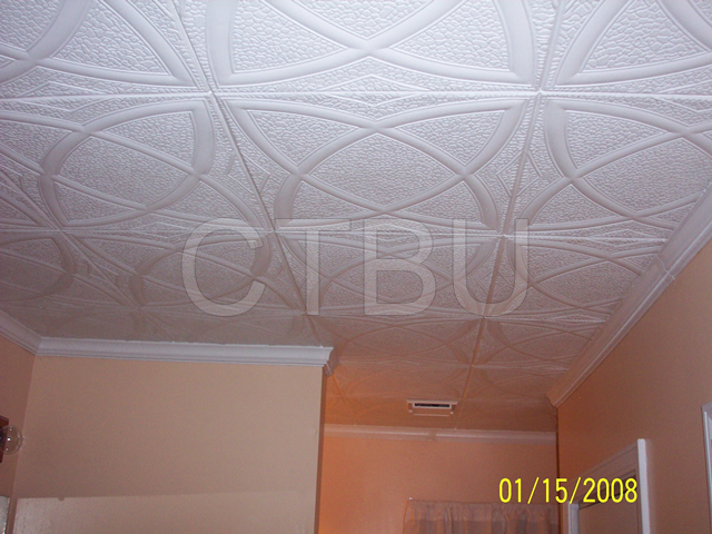 Styrofoam Molding Installed Ceiling Tiles By Us