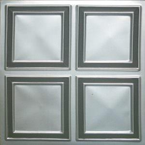 Faux Tin Ceiling Tile Silver Black PVC