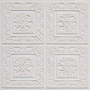 Tin ceiling tiles White