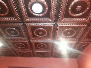 Design 210 Antique Copper Installed Grid Ceiling Installation