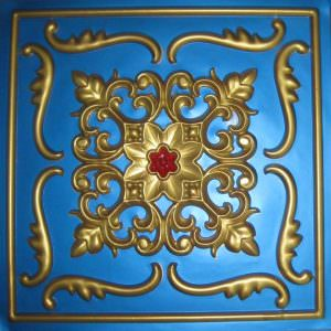 Faux Blue Gold Red 2x2 PVC  26 tiles in stock ONLY!