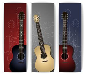 Colorful Music Banner with Guitar Collection