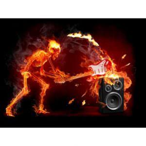 Crush Guitar Fiery Skeleton