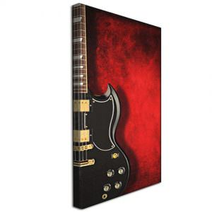 Black Guitar against Red Back Ground