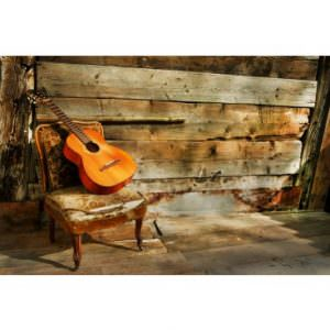 Acoustic Guitar on Old Chair
